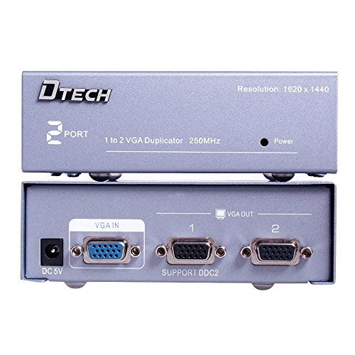 DTECH 2 Way Powered VGA Splitter Amplifier Box High Resolution 1080p SVGA Video 1 in 2 out 250 Mhz for 1 PC to Dual Monitor Computer by DTech (Image #4)