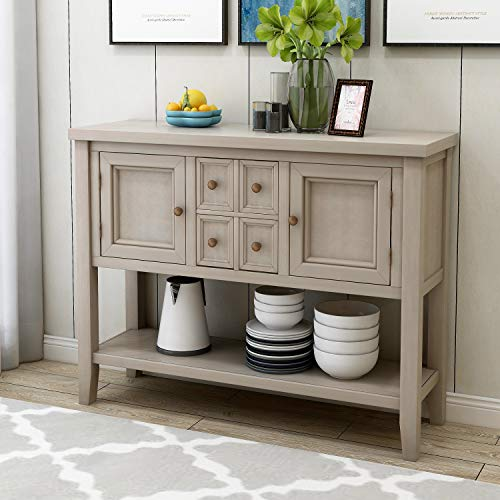 LOKESI Console Table Buffet Sideboard Sofa Table with 4 Storage Drawers Two Cabinets and Bottom Shelf (Antique Gray)