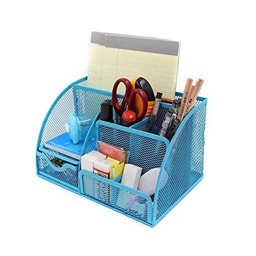 VANRA Office Supply Caddy Metal Mesh Desktop Supplies Organizer School Supply Holder Stuff Storage Organizer 6 Compartments with Drawer (Blue)