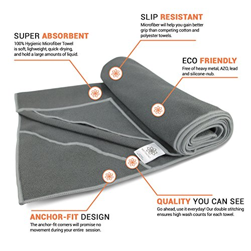 Mettadali Yoga Towel with Corner Pockets + Free Spray Bottle Slip Resistant & Sweat Activated Gripping Microfiber Choose Your Color & Exact Mat Size