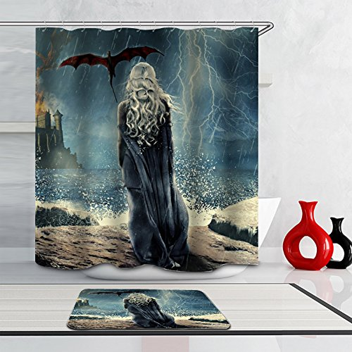 Mother of Dragons 65 x 72 inches + 30 x 18 inches Shower Curtain and Bath Mat Set ()