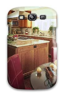Hot SSHAgcJ7788OwLju Case Cover Protector For Galaxy S3- Rich Stained Wood Kitchen With Marble Countertops And Farmstead Accents