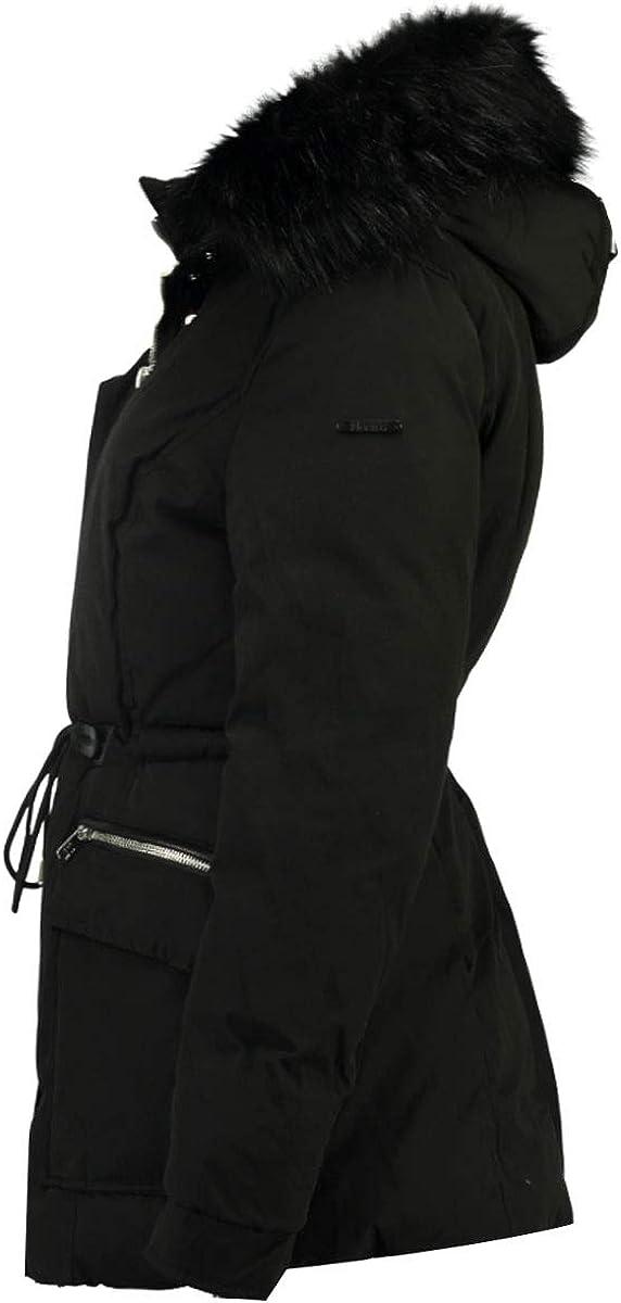 Geographical Norway, parka da donna con cappuccio in pelliccia sintetica e laccio di chiusura in vita, molte tasche, modello Acam, disponibile in 2 colori, da S a XXL Nero