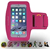 AmaziPro8 Sports Armband buildin Key Holder, Armband For iphone 6 Plus 6sPlus, Best iphone Armband For Running + FREE 5 Downloadable Health Books - Also Compatible for Samsung Note 3 & Note 4 - Pink