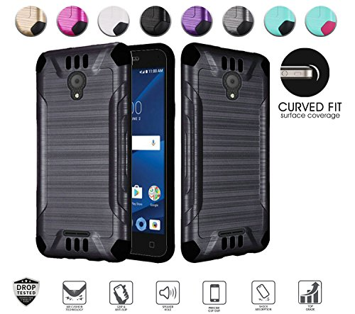 Alcatel Verso Case, IdealXcite case, CameoX case 5044R, Alcatel U50 case 5044S, Heavy Duty Metallic Brushed Slim Hybrid Shockpoof Dual Layer Armor Defender Protective Case (Black)