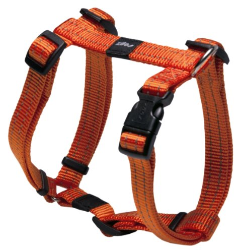 Reflective Adjustable Dog H Harness for Small to Medium Dogs; matching collar and leash available, Orange