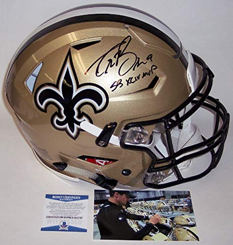 Drew Brees Autographed Hand Signed Riddell FLEX New Orleans Saints Speed Full Size Authentic Pro Football Game Helmet - with SB XLIV MVP inscription - BAS Beckett Authentication
