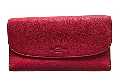 COACH PEBBLED LEATHER CHECKBOOK WALLET, STYLE F52715 True Red