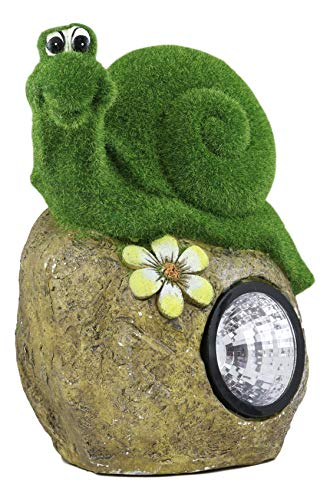 Ebros Large Whimsical Snail On Rock Garden Statue with Solar LED Light in Flocked Artificial Moss Grass Finish Resin Sculpture Guest Greeter Home Decor Outdoors Patio Flower Bed (Garden Dc Sculpture Christmas)