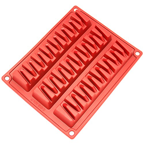 Freshware CB-800D 3-Cavity Silicone Break-Apart Zig Zag Chocolate, Protein and Energy Bar Mold