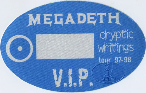 Megadeth 1997-98 Cryptic Writings Backstage Pass VIP