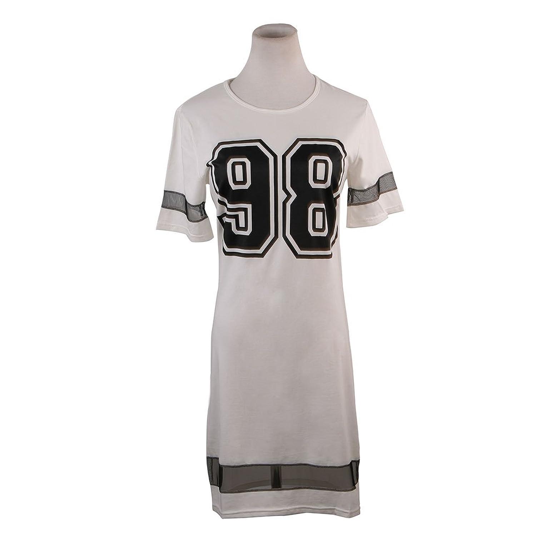 JNTworld Summer Women's Football Jersey Sport Tight Print T-Shirt Top Dress