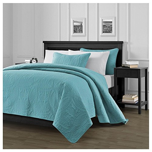 Chezmoi Collection Austin 3-piece Oversized Bedspread Coverlet Set (King, Turquoise) (Turquoise King Quilt compare prices)