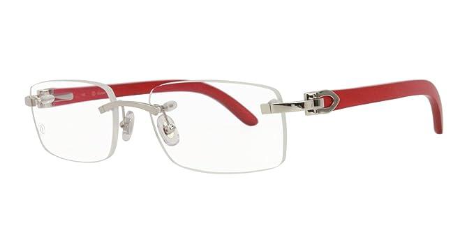 feb06a2c427 Image Unavailable. Image not available for. Colour  Cartier Décor C Red Wood  Platinum Finish Metal Men Optical Glasses EYE00141