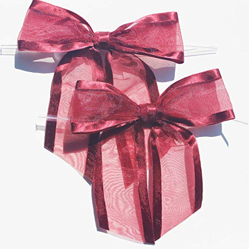 (Burgundy Pre-Tied Organza Bows with Twist Ties. Pack of 12 Satin-Edged Fabric Bows Made of 1-1/2