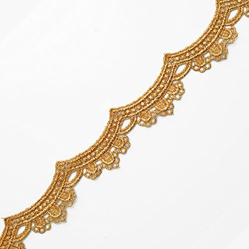 2-Yards 1-1/4 Inch Metallic Lace Trim for Bridal, Costume or Jewelry, Crafts and Sewing, LP-MX-1331 (Gold)