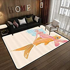 Living Room Mats:Rugs for bedroom Mermaid Decor Collection,Smiling Little Mermaid Girl and Golden Fish Childhood Fantasy Crown Princess Image,Blue Mustard Pink Bathroom CarpetPerfect Custom Bedroom Floor Mats:► Super soft,feels smooth and com...