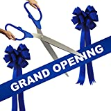 Grand Opening Kit - 36'' Blue/Silver Ceremonial Ribbon Cutting Scissors with 5 Yards of 6'' Royal Blue Grand Opening Ribbon and 2 Royal Blue Bows