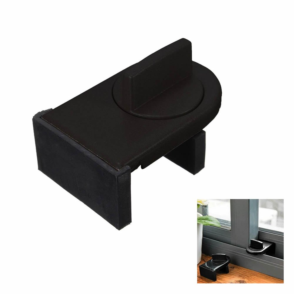 GOOTRADES Baby Safety Adjustable Sliding Window Lock Stopper Wedge with Rubber Covering (10 Pcs, Black)