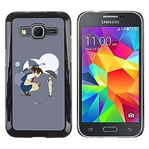 Be Good Phone Accessory // Dura Cáscara cubierta Protectora Caso Carcasa Funda de Protección para Samsung Galaxy Core Prime SM-G360 // Anime Fairytale Cat Girl Umbrella Cartoon Moon
