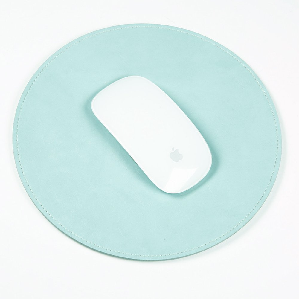 ProElife Home/Office Round Premium PU Leather Mouse Mice Pad Mat Smooth Surface Non-Slip Noiseless for Apple Magic Mouse Microsoft Mouse Mice, Wired/Wireless Bluetooth Mouse (Turquoise Blue)