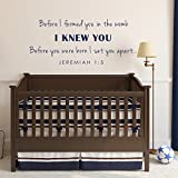 Before I Formed You in the Womb Christian Scripture Wall Decal - Baby Nursery Wall Decal (46x19'' King Blue)