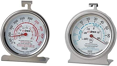 1 Oven Thermometer 50500 Degrees 1 refrigeratorFreezer thermometer2070 Degrees 3 Inch Commercial stainless thermometer with Hook Panel base Set of 2