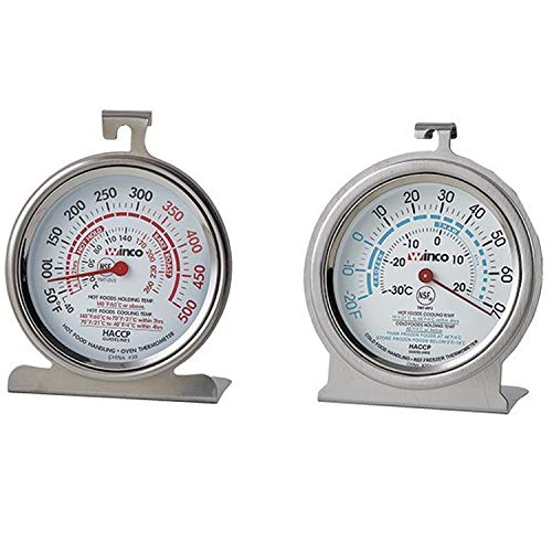 - (1) Oven Thermometer 50 - 500 Degrees (1) refrigerator/Freezer thermometer-20 - 70 Degrees 3 Inch Commercial stainless thermometer with Hook & Panel base (Set of 2)