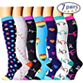 Bluemaple Compression Socks,(3or7pair) for Women & Men - Best for Running, Athletic Sports, Crossfit, Flight Travel -Maternity Pregnancy, Shin Splints - Below Knee High