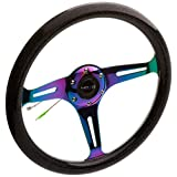 "NRG Innovations ST-015MC-BSB""Galaxy"" Classic Wood Grain Wheel (350mm 3 Neochrome spokes - Black Sparkled Color)"