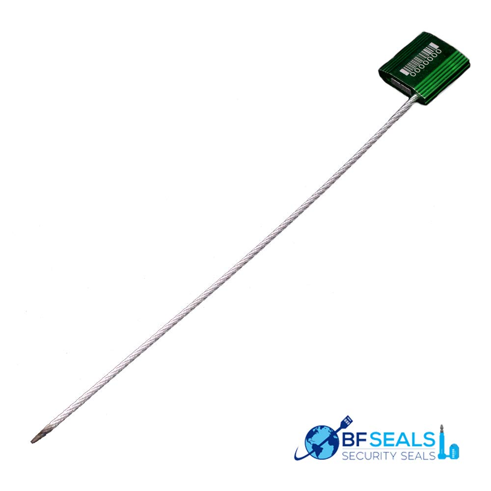 BFSeals Brand Numbered with Barcode 12 Inch Green Security Tie-Galvanized Steel Cable Seal with 2.4mm Wire, 100 Pieces