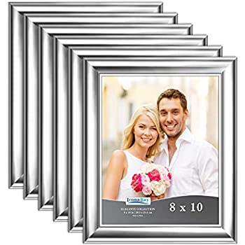 Icona Bay 8x10 Picture Frame (Silver, 6 Pack), Silver Photo Frame 8 x 10, Wall Mount or Table Top, Set of 6 Elegante Collection