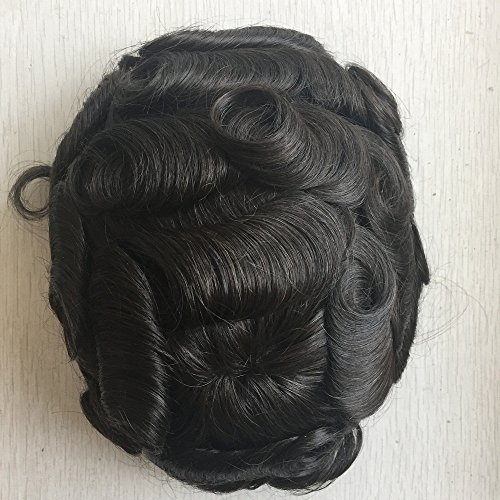 Mens Toupee Foryang Lace With Skin Human Hair Pieces Toupee Hair Replacement System For Men 8x10 Off Black 1B by Foryang (Image #1)