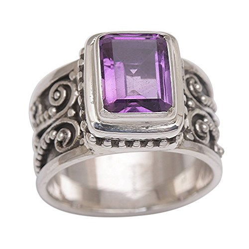 - NOVICA Amethyst .925 Sterling Silver Cocktail Ring 'Quadratic Agreement'