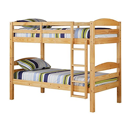 Twin Bunk Bed Frame - Twin Over Twin Size Wooden Bunk Bed with Ladder - Convertible to 2 Beds - Kids Toddlers Room Furniture - Mattresses Not Included! (Natural)