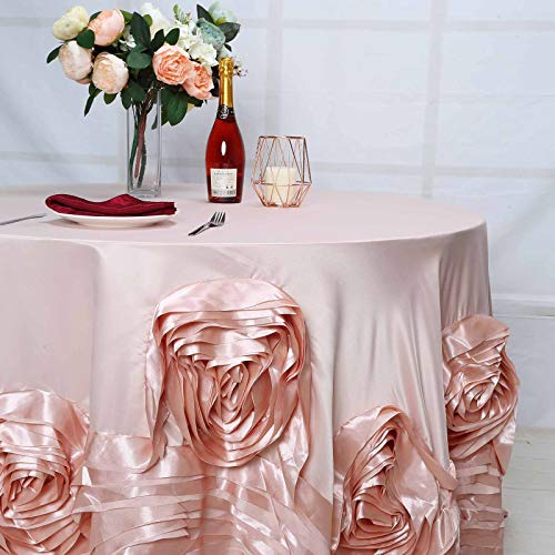 BalsaCircle 132-Inch Blush Round Large Raised Roses Lamour Satin Tablecloth Table Linens Wedding Decorations Dining Catering