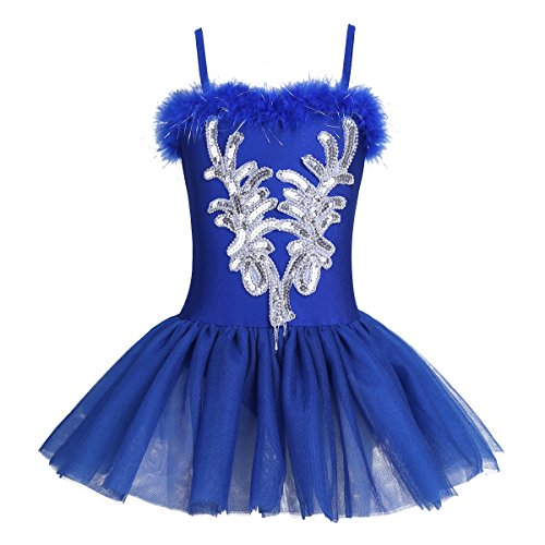 CHICTRY Kid's Girls Sequins Beads Flower Fairy Ballerina Dance Costume Ballet Tutu Dress Long Gloves Hair Clip Set Royal Blue 10-12 -