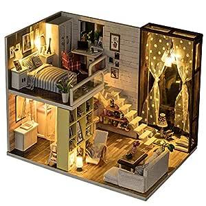 Amazon.es: Insun Miniatura Casa de muñecas de Madera con Muebles ...