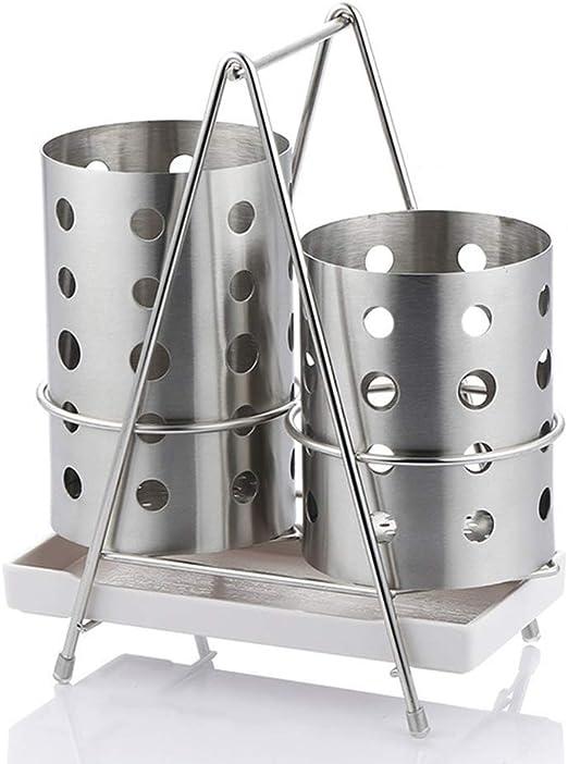 DUDDP Organizador cocina Cubiertos de acero inoxidable |Organizador de cubiertos y cubertería |Porta utensilios con rejilla de drenaje for palillos de cuchara Tenedor Espátula, Colador Estante for cub: Amazon.es: Hogar