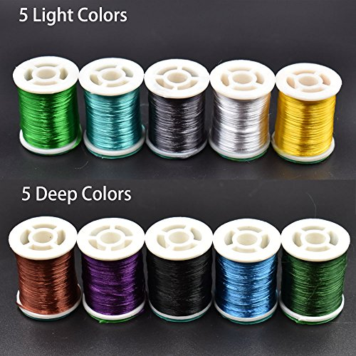 10 Colors Fly Tying Floss Thread Silk Shiny Fly Tying Materials For Nymphal & Streamer Flies (10 Spools Total (5 Light +5 Deep))