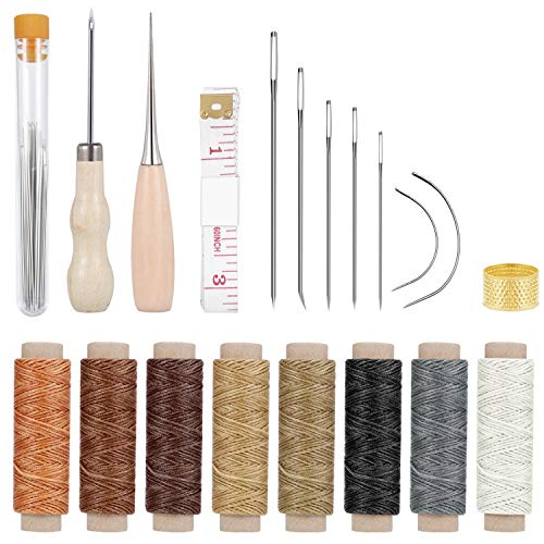 - Paxcoo 31 Pcs Leather Hand Sewing Craft Tools with Sewing Needles, Waxed Thread, Drilling Awl for Leather Canvas Sewing