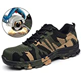 TRUPO Mens Work Safety Shoes Construction Industrial Steel Toe Puncture Proof Footwear Camouflage Green 35