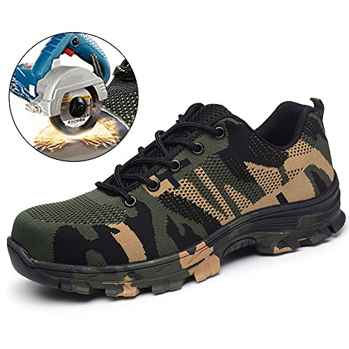 - SUADEX Steel Toe Shoes Men, Women's Work Safety Industrial and Construction Sneakers, Outdoor Hiking Trekking Trail Waterproof Composite Shoes, Green-47