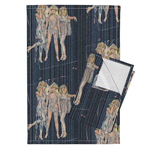 Fashion Tea Towels 1980 Disco Glamour by Lucybaribeau Set of 2 Linen Cotton Tea - 1980 Disco Fashion