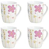 Becher Kaffeebecher Teetassen Set Groß aus Porzellan in weiß mit Blumen