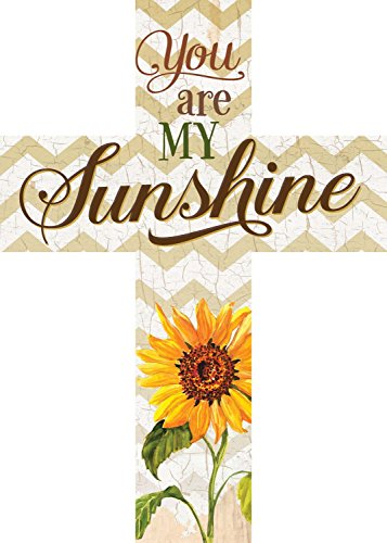 You are My Sunshine Sunflower Chevron 7 x 5 Wood Wall Art Cross Plaque