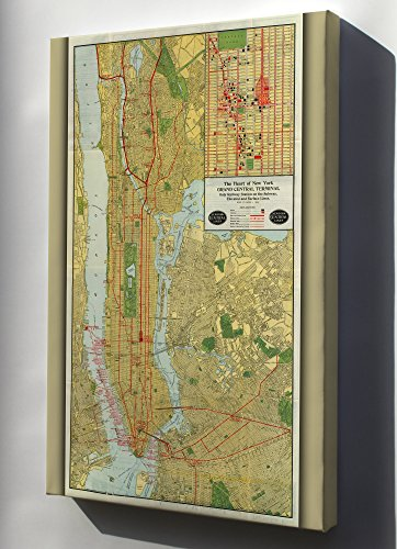Canvas 24x36; 1918 Map Of The New York Central Railroad, New York City