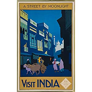 """Frame USA a Street by Moonlight-Visit India-PRIPUB131077 12.75""""x8"""" by Print Collection, 12.75x8, Gold Metal Frame"""