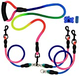 Dual Dog Leash / 6.6 ft Triple Dog Leash,360°Swivel No Tangle Double Dog Walking Training Leash,2-way&3-way interchangeable Lead with Hand-protected Handle Waste Bag Dispenser for Two/Three Dogs