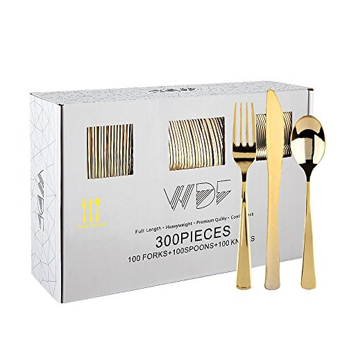 300 Pieces Gold Plastic Silverware- Disposable Flatware Set-Heavyweight Plastic Cutlery- Includes 100 Forks, 100 Spoons, 100 Knives -WDF ()